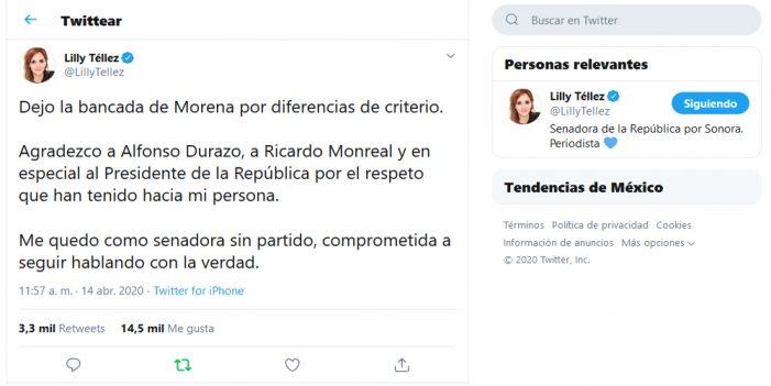 "Lilly Téllez deja bancada de Morena por ""diferencias de criterio"""