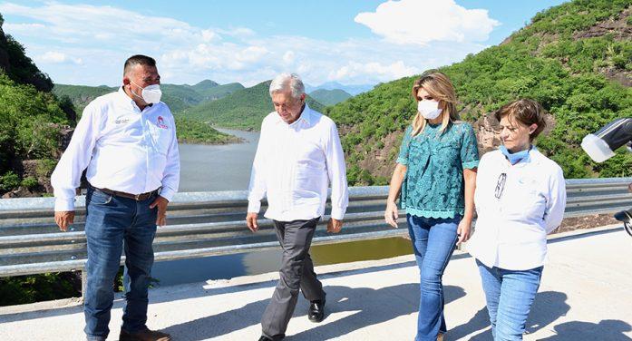 """Inauguran López Obrador y Pavlovich Arellano presa bicentenario """"Los Pilares"""""""